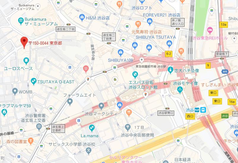 ジアレイ渋谷店の地図