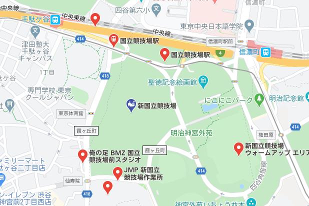 新国立競技場の地図の写真